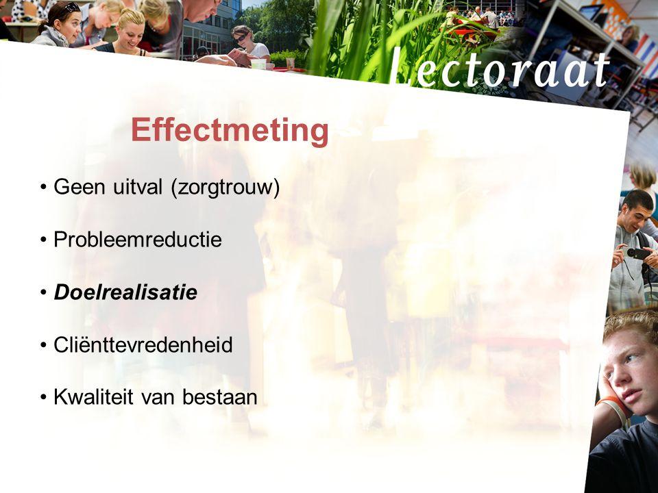 17-7-20145 Effectmeting Geen uitval (zorgtrouw) Probleemreductie Doelrealisatie Cliënttevredenheid Kwaliteit van bestaan