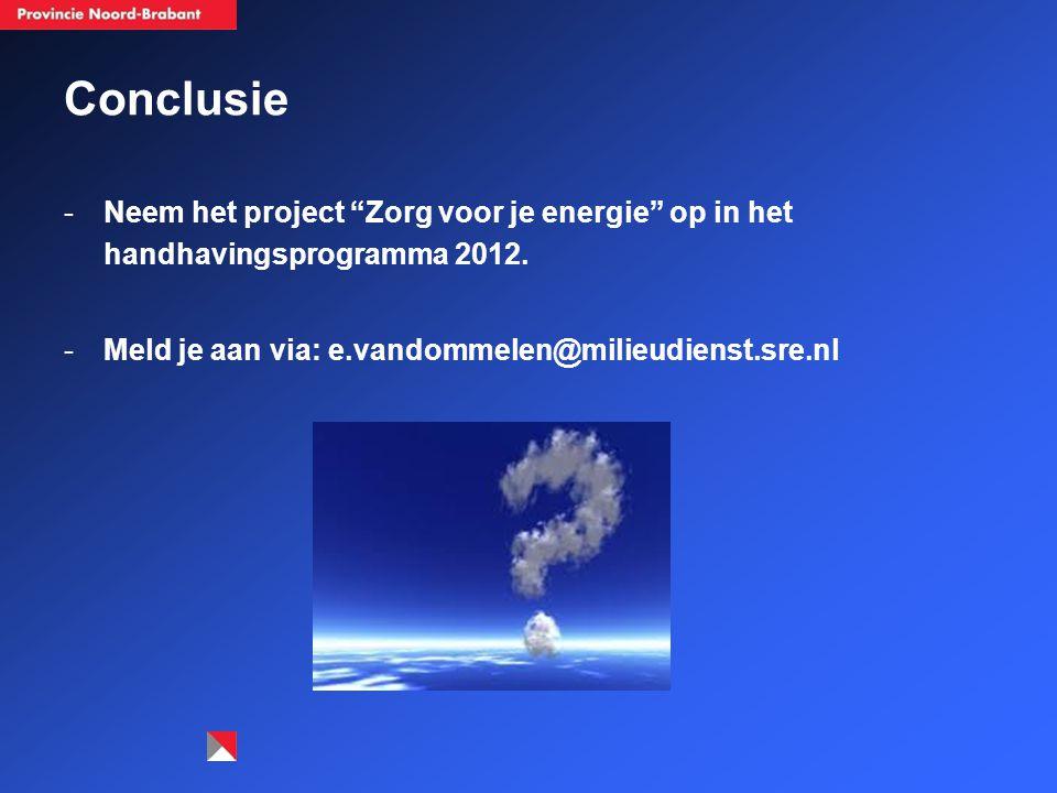 """Conclusie -Neem het project """"Zorg voor je energie"""" op in het handhavingsprogramma 2012. -Meld je aan via: e.vandommelen@milieudienst.sre.nl"""