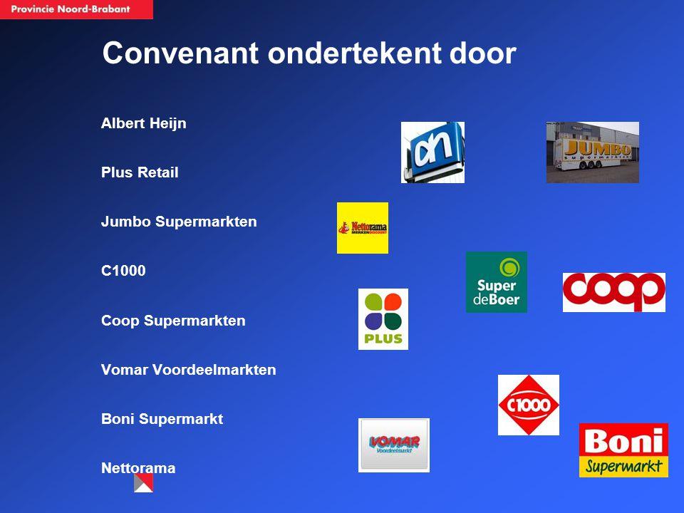 Convenant ondertekent door Albert Heijn Plus Retail Jumbo Supermarkten C1000 Coop Supermarkten Vomar Voordeelmarkten Boni Supermarkt Nettorama