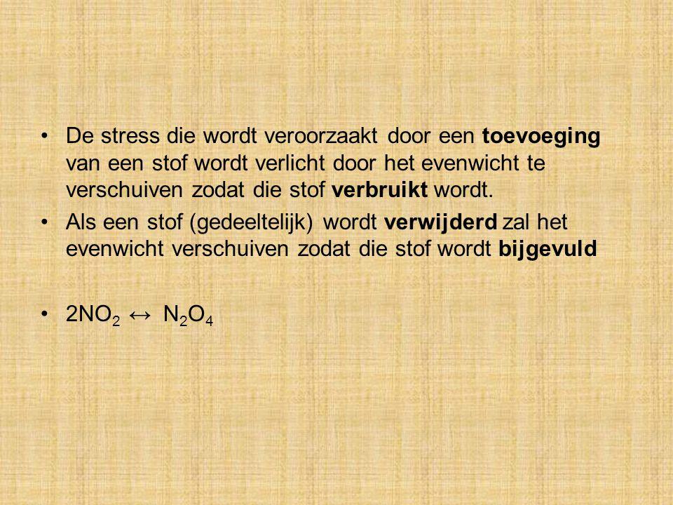 De stress die wordt veroorzaakt door een toevoeging van een stof wordt verlicht door het evenwicht te verschuiven zodat die stof verbruikt wordt. Als