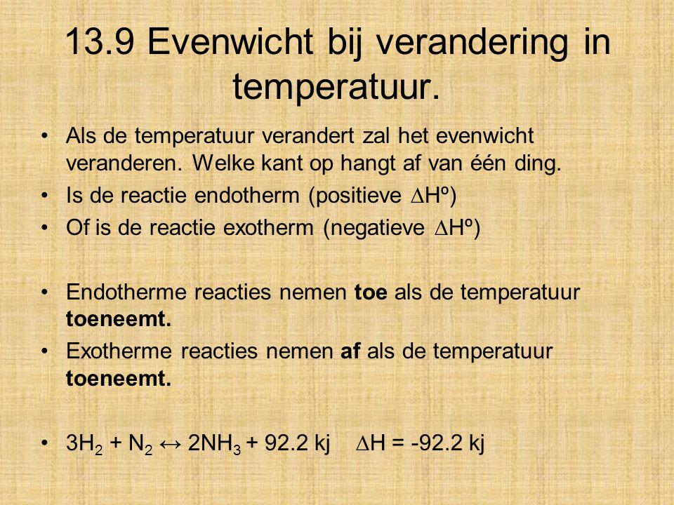 13.9 Evenwicht bij verandering in temperatuur. Als de temperatuur verandert zal het evenwicht veranderen. Welke kant op hangt af van één ding. Is de r