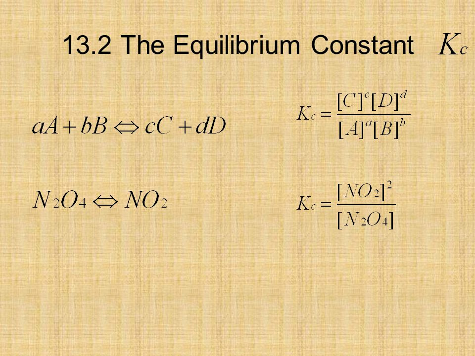 13.3 The Equilibrium Constant Universele gaswet
