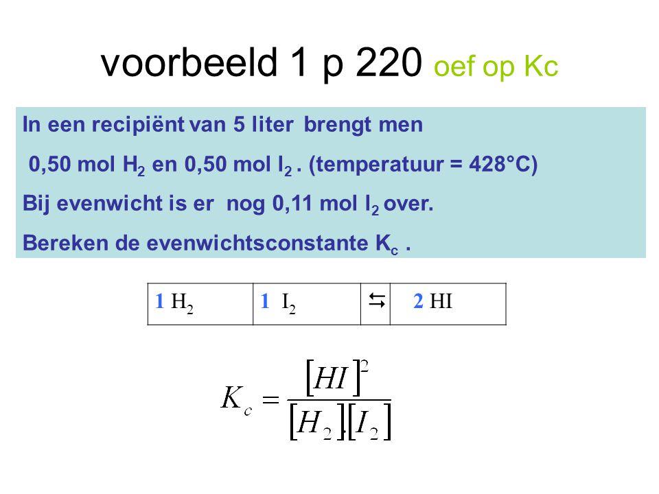 voorbeeld 1 p 220 oef op Kc In een recipiënt van 5 liter brengt men 0,50 mol H 2 en 0,50 mol l 2. (temperatuur = 428°C) Bij evenwicht is er nog 0,11 m