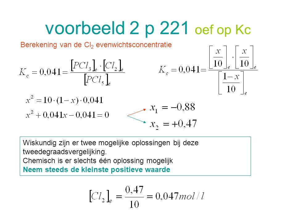 voorbeeld 2 p 221 oef op Kc Berekening van de Cl 2 evenwichtsconcentratie Wiskundig zijn er twee mogelijke oplossingen bij deze tweedegraadsvergelijki