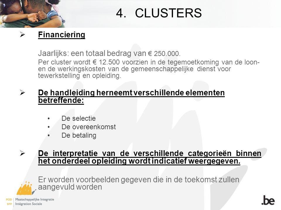 4.CLUSTERS  Financiering Jaarlijks: een totaal bedrag van € 250.000.