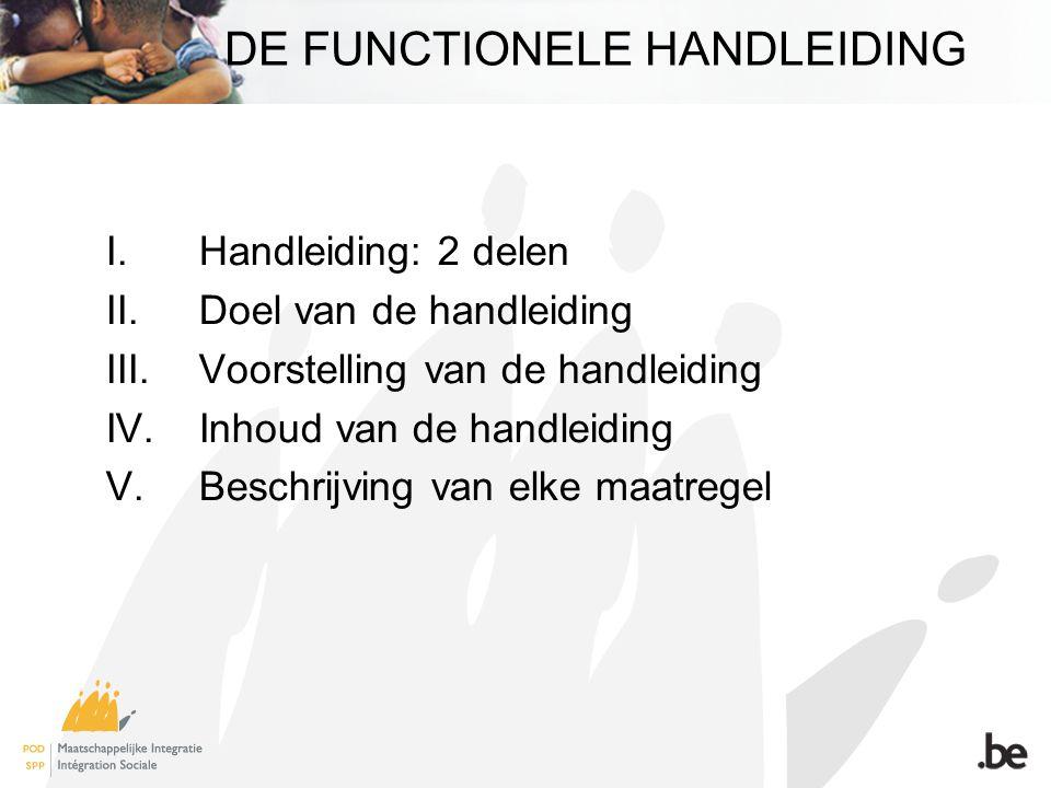 DE FUNCTIONELE HANDLEIDING I.Handleiding: 2 delen II.Doel van de handleiding III.Voorstelling van de handleiding IV.Inhoud van de handleiding V.Beschrijving van elke maatregel
