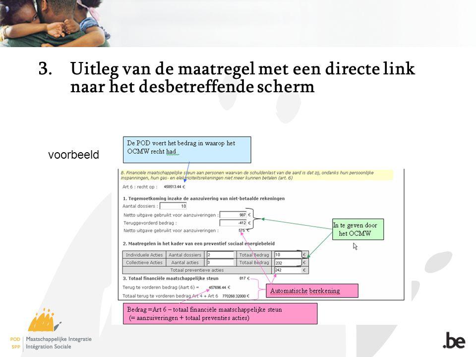 3.Uitleg van de maatregel met een directe link naar het desbetreffende scherm voorbeeld