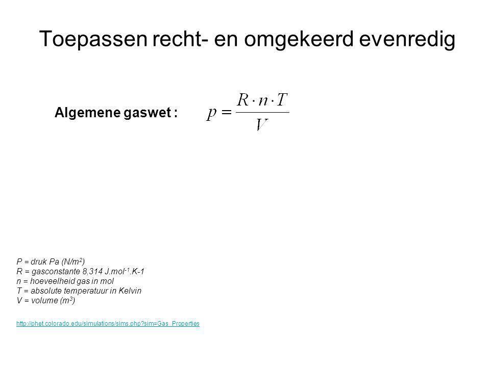 Toepassen recht- en omgekeerd evenredig Algemene gaswet : P = druk Pa (N/m 2 ) R = gasconstante 8,314 J.mol -1.K-1 n = hoeveelheid gas in mol T = abso