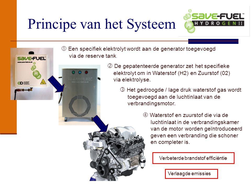 Principe van het Systeem Verbeterde brandstof efficiëntie Verlaagde emissies  Een specifiek elektrolyt wordt aan de generator toegevoegd via de reserve tank.
