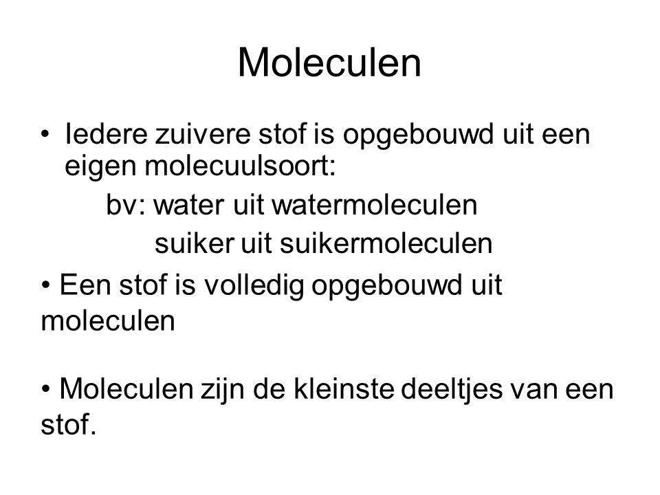 Iedere zuivere stof is opgebouwd uit een eigen molecuulsoort: bv: water uit watermoleculen suiker uit suikermoleculen Een stof is volledig opgebouwd u