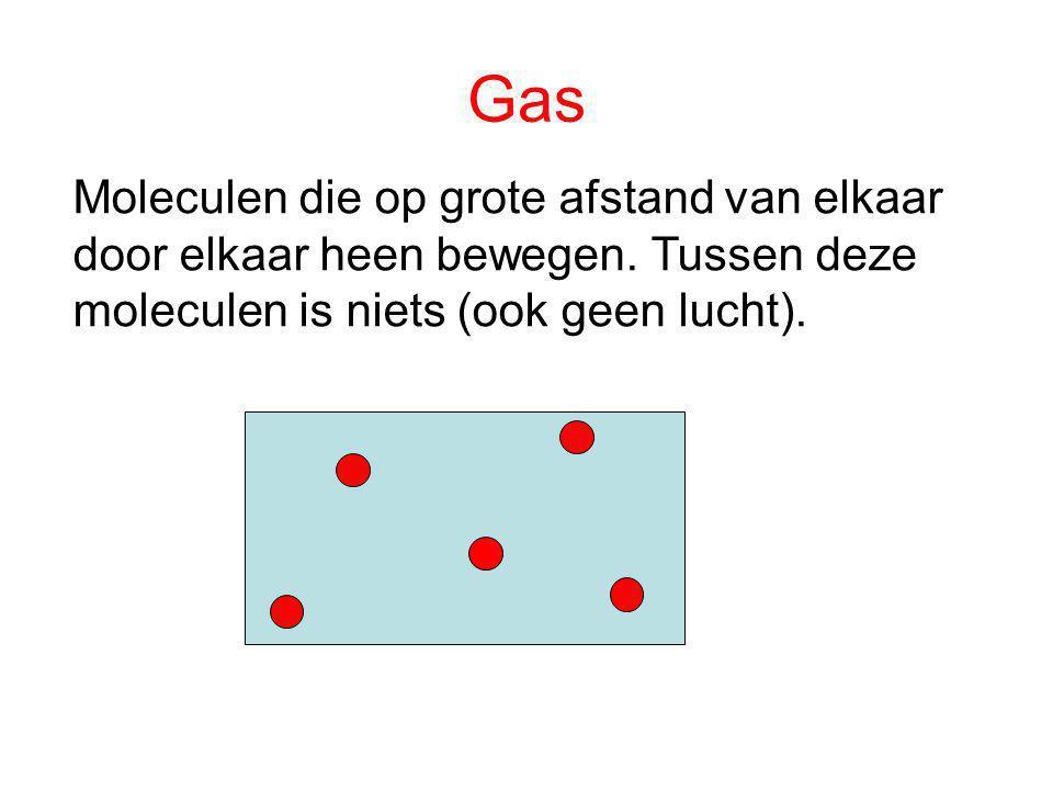 Moleculen die op grote afstand van elkaar door elkaar heen bewegen. Tussen deze moleculen is niets (ook geen lucht). Gas