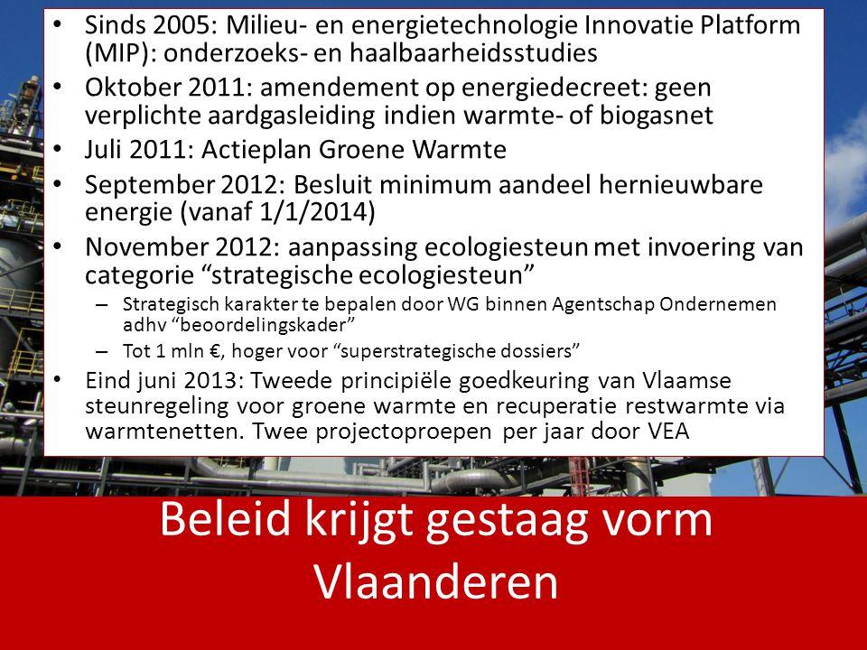 Beleid krijgt gestaag vorm Vlaanderen Sinds 2005: Milieu- en energietechnologie Innovatie Platform (MIP): onderzoeks- en haalbaarheidsstudies Oktober