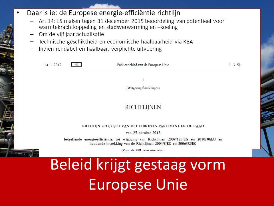 Beleid krijgt gestaag vorm Europese Unie Daar is ie: de Europese energie-efficiëntie richtlijn – Art.14: LS maken tegen 31 december 2015 beoordeling v