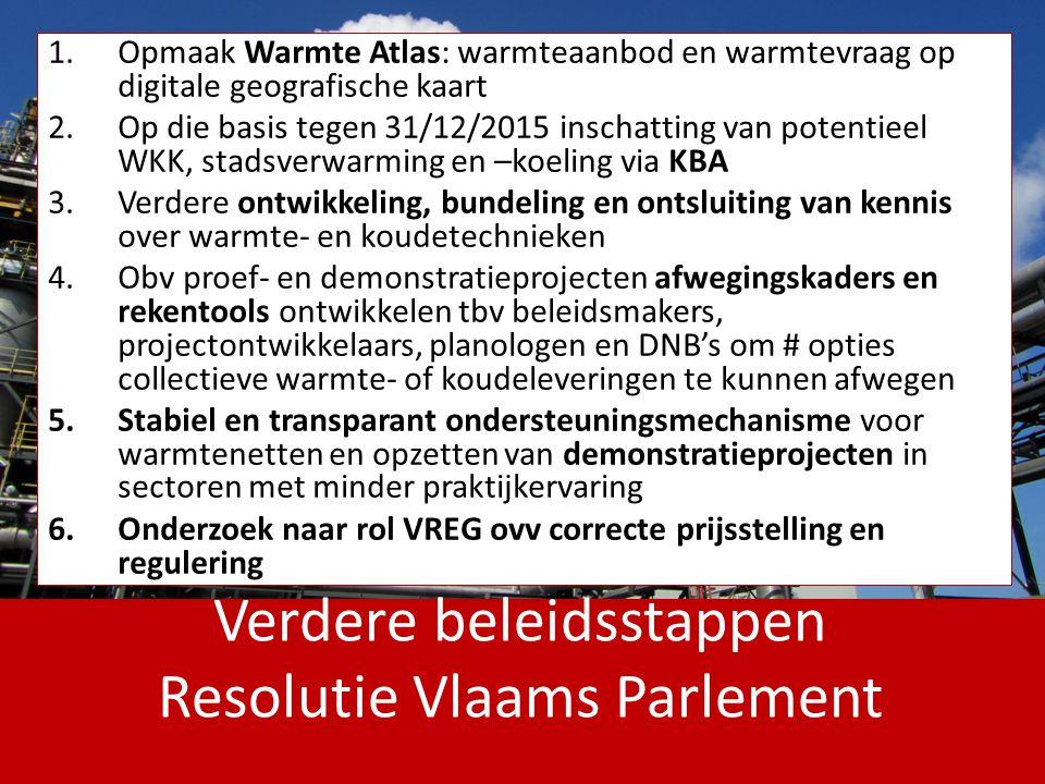 Verdere beleidsstappen Resolutie Vlaams Parlement 1.Opmaak Warmte Atlas: warmteaanbod en warmtevraag op digitale geografische kaart 2.Op die basis teg