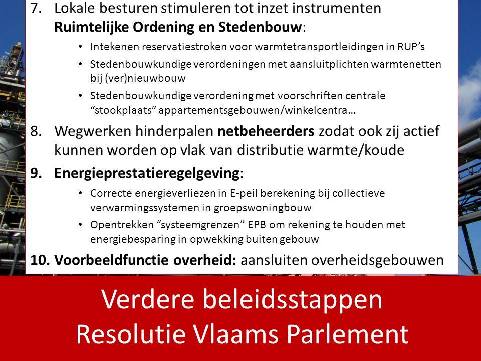 Verdere beleidsstappen Resolutie Vlaams Parlement 7.Lokale besturen stimuleren tot inzet instrumenten Ruimtelijke Ordening en Stedenbouw: Intekenen re