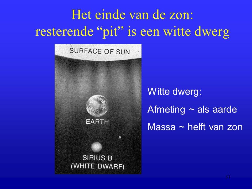 31 Het einde van de zon: resterende pit is een witte dwerg Witte dwerg: Afmeting ~ als aarde Massa ~ helft van zon