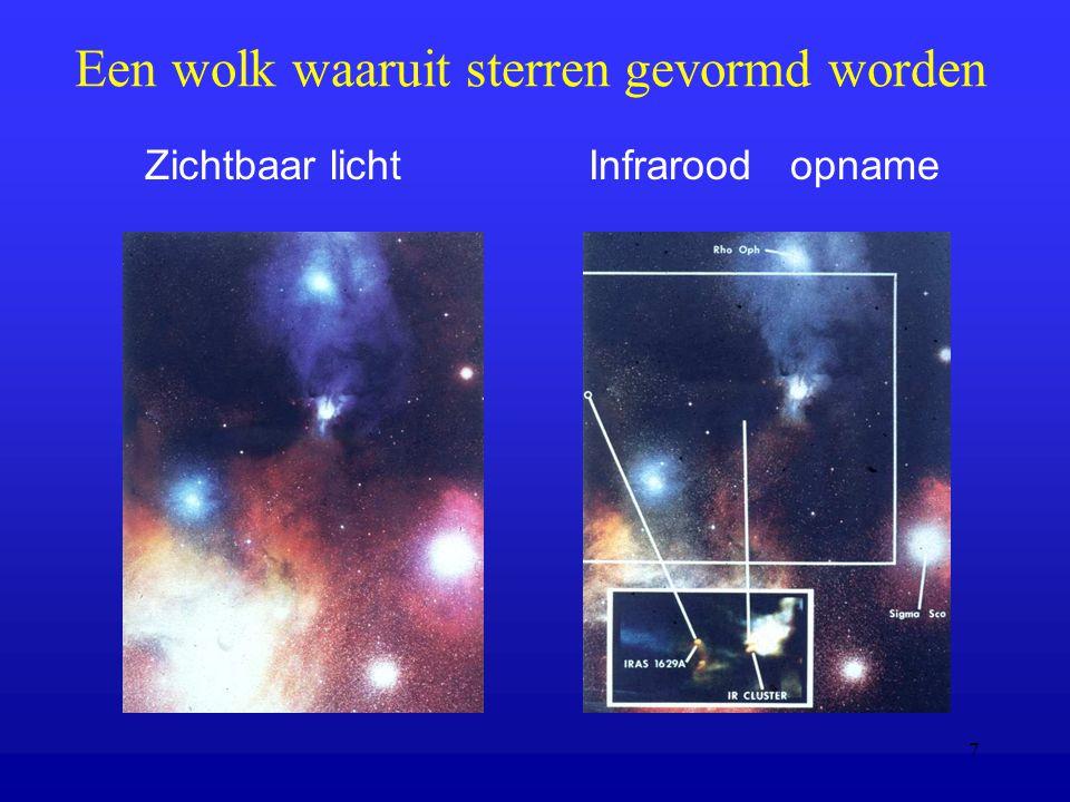 7 Een wolk waaruit sterren gevormd worden Zichtbaar licht Infrarood opname