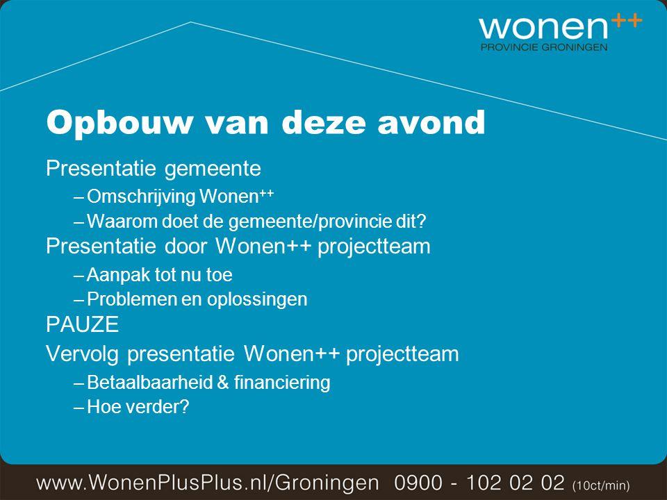 Opbouw van deze avond Presentatie gemeente –Omschrijving Wonen ++ –Waarom doet de gemeente/provincie dit.