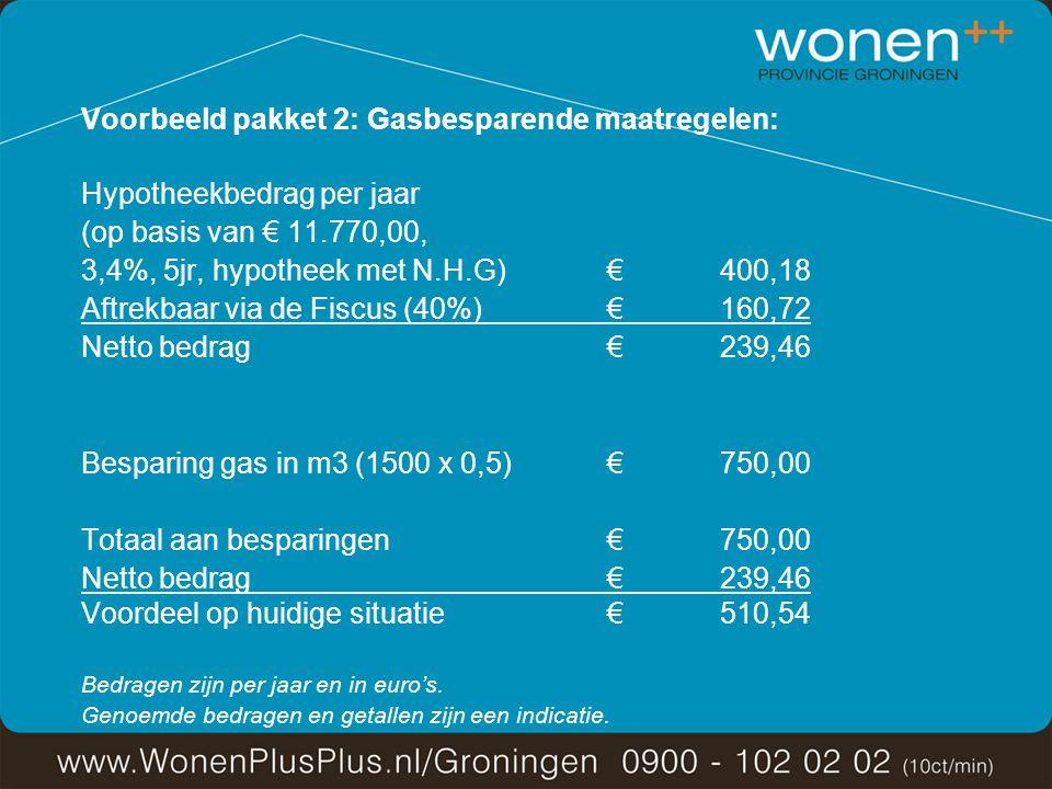 Voorbeeld pakket 2: Gasbesparende maatregelen: Hypotheekbedrag per jaar (op basis van € 11.770,00, 3,4%, 5jr, hypotheek met N.H.G)€ 400,18 Aftrekbaar via de Fiscus (40%)€ 160,72 Netto bedrag€ 239,46 Besparing gas in m3 (1500 x 0,5)€ 750,00 Totaal aan besparingen€ 750,00 Netto bedrag € 239,46 Voordeel op huidige situatie€ 510,54 Bedragen zijn per jaar en in euro's.