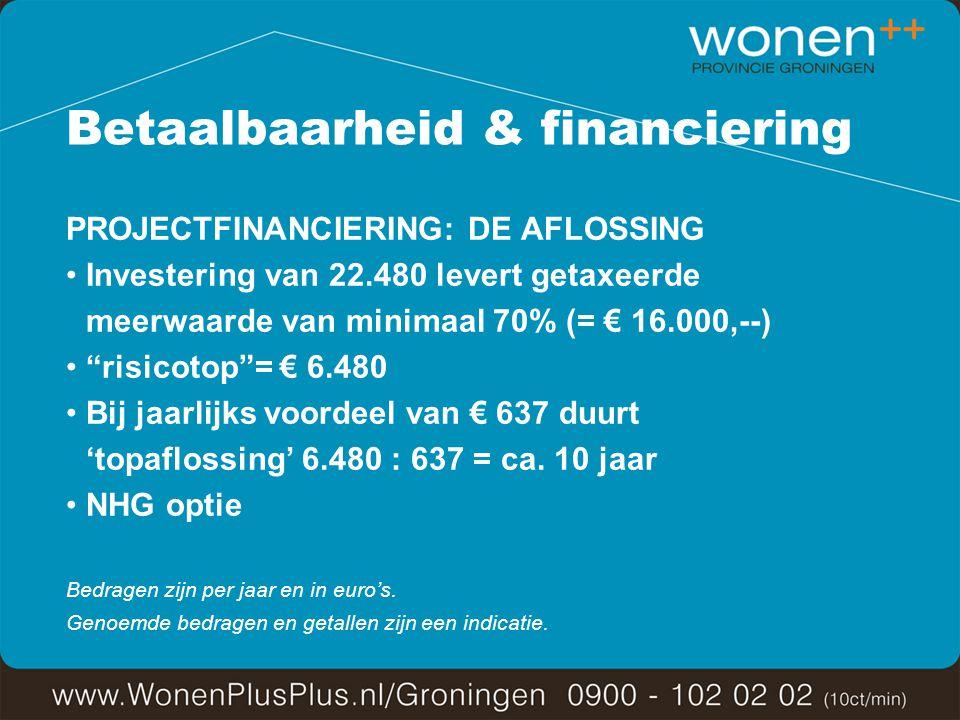 Betaalbaarheid & financiering PROJECTFINANCIERING: DE AFLOSSING Investering van 22.480 levert getaxeerde meerwaarde van minimaal 70% (= € 16.000,--) risicotop = € 6.480 Bij jaarlijks voordeel van € 637 duurt 'topaflossing' 6.480 : 637 = ca.