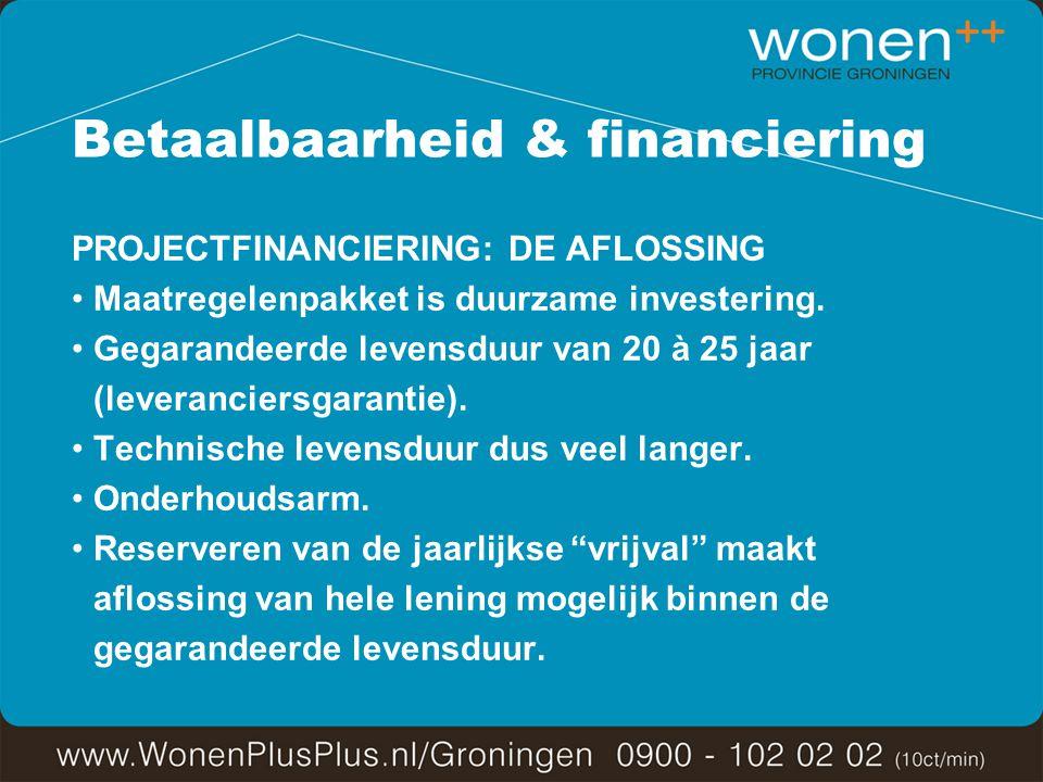 Betaalbaarheid & financiering PROJECTFINANCIERING: DE AFLOSSING Maatregelenpakket is duurzame investering.