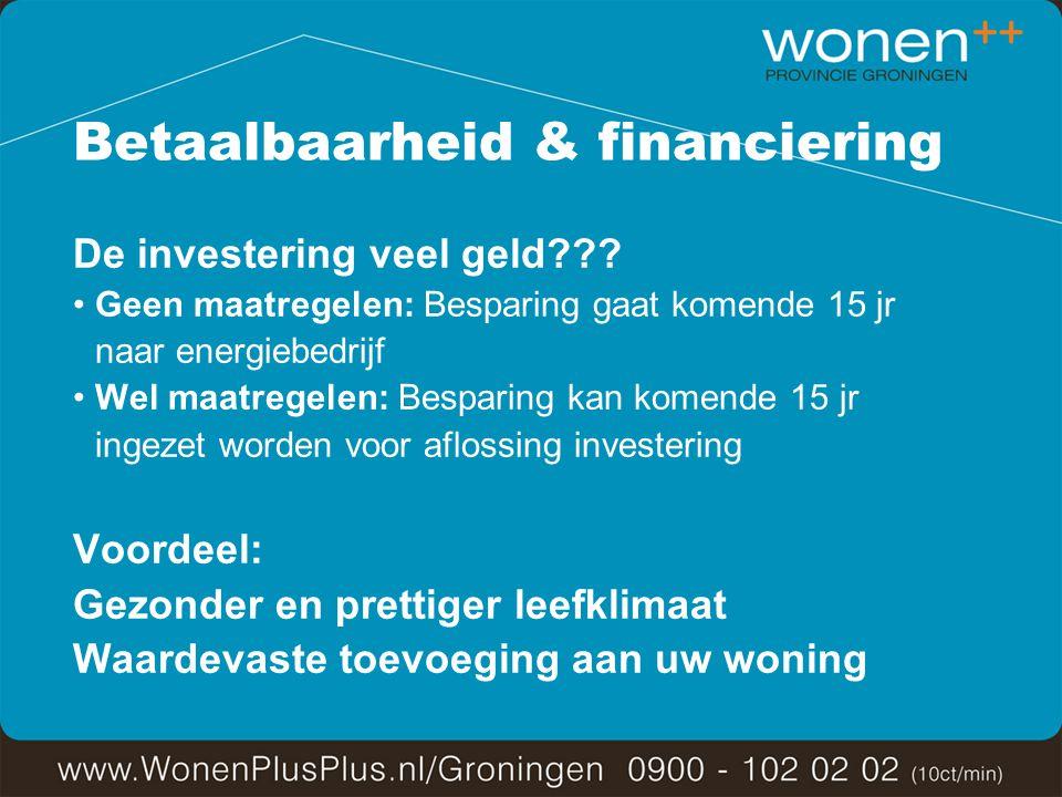 Betaalbaarheid & financiering De investering veel geld .