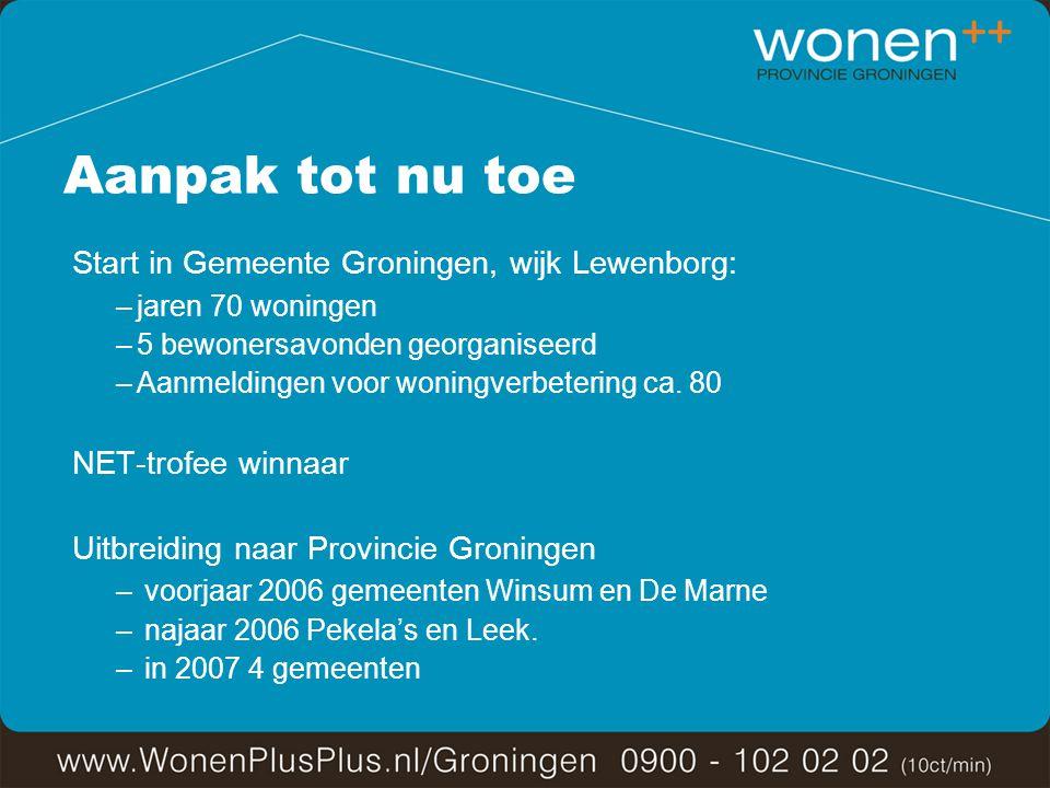 Aanpak tot nu toe Start in Gemeente Groningen, wijk Lewenborg: –jaren 70 woningen –5 bewonersavonden georganiseerd –Aanmeldingen voor woningverbetering ca.
