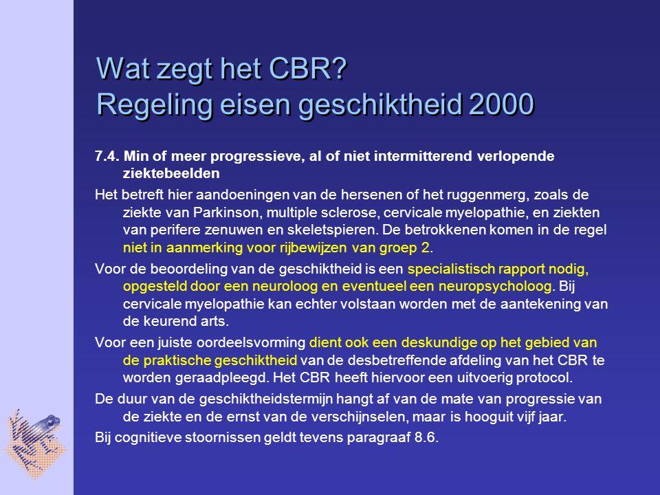 Wat zegt het CBR.Regeling eisen geschiktheid 2000 7.4.