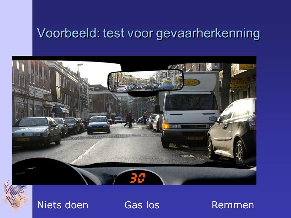 Voorbeeld: test voor gevaarherkenning Niets doen Gas losRemmen