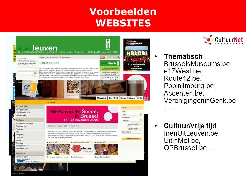 Voorbeelden WEBSITES Thematisch BrusselsMuseums.be, e17West.be, Route42.be, Popinlimburg.be, Accenten.be, VerenigingeninGenk.be, … Cultuur/vrije tijd InenUitLeuven.be, UitinMol.be, OPBrussel.be,...