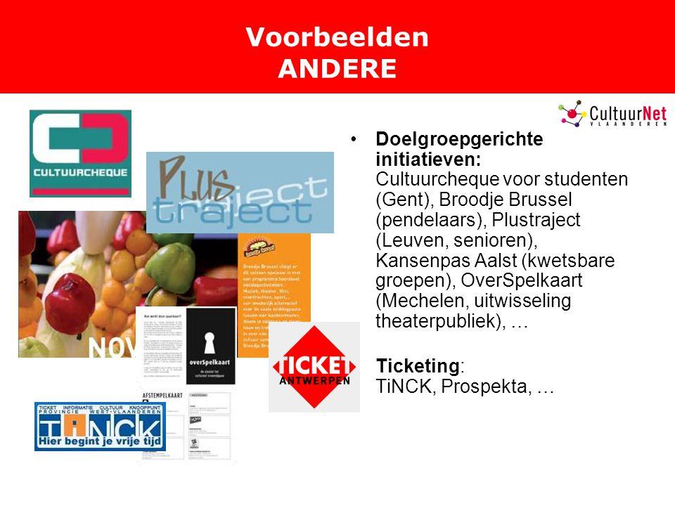 Voorbeelden ANDERE Doelgroepgerichte initiatieven: Cultuurcheque voor studenten (Gent), Broodje Brussel (pendelaars), Plustraject (Leuven, senioren), Kansenpas Aalst (kwetsbare groepen), OverSpelkaart (Mechelen, uitwisseling theaterpubliek), … Ticketing: TiNCK, Prospekta, …