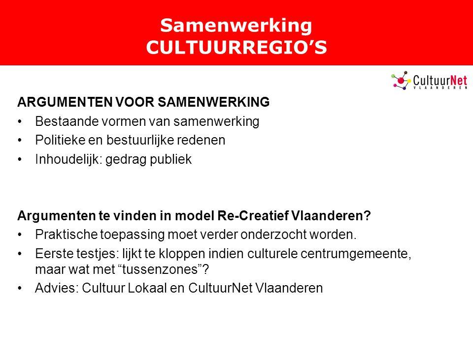 Samenwerking CULTUURREGIO'S ARGUMENTEN VOOR SAMENWERKING Bestaande vormen van samenwerking Politieke en bestuurlijke redenen Inhoudelijk: gedrag publiek Argumenten te vinden in model Re-Creatief Vlaanderen.