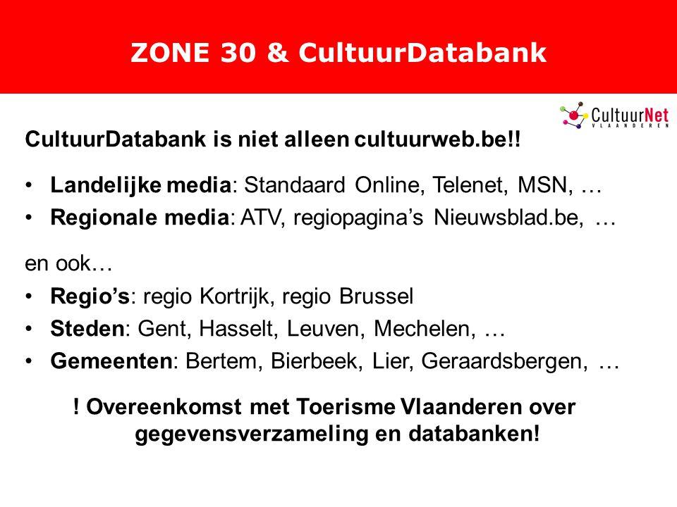 ZONE 30 & CultuurDatabank CultuurDatabank is niet alleen cultuurweb.be!.