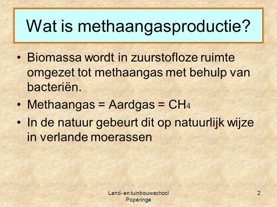 Land- en tuinbouwschool Poperinge 13 Mestverwerking Drijfmest Vaste fractie + Digestaat ( afkomstig van de methaanproductie ) Dunne fractie Veld Compostering + Hygiënisering Exporteren (Buitenland)