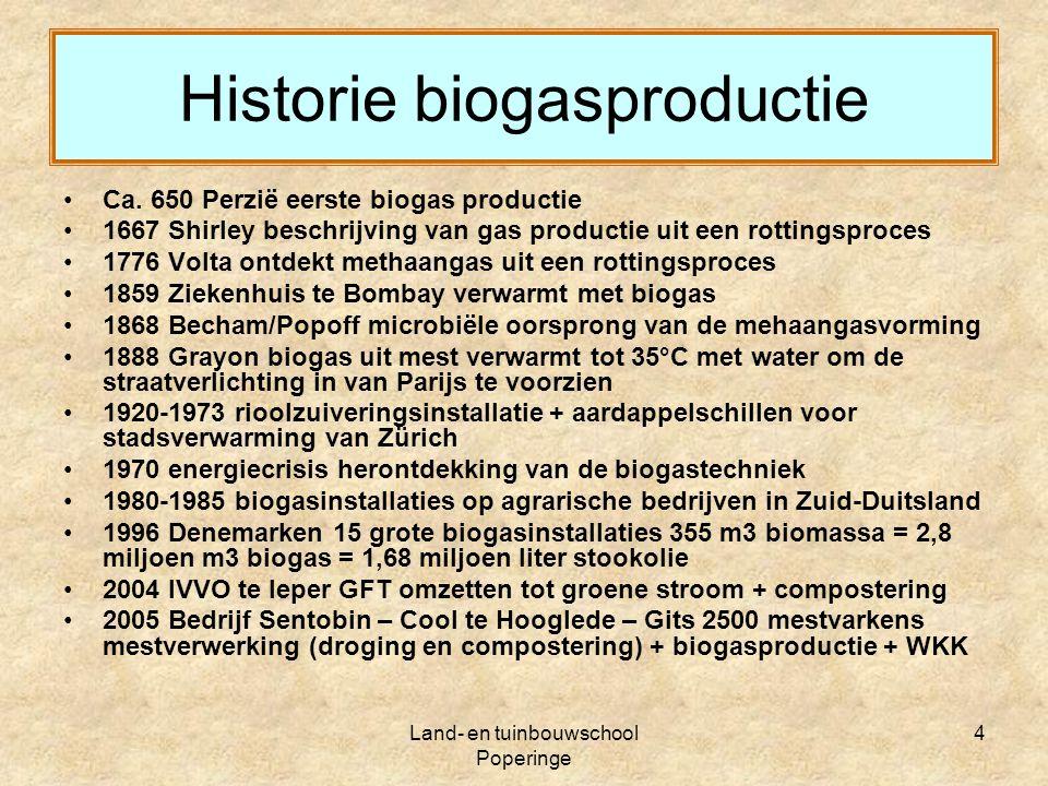 Land- en tuinbouwschool Poperinge 15 Vermindering van emissie Chemische luchtwasser + Biologische ontgeurder = Geurhinder van 2500 mestvarkens verminderd naar 300 mestvarkens