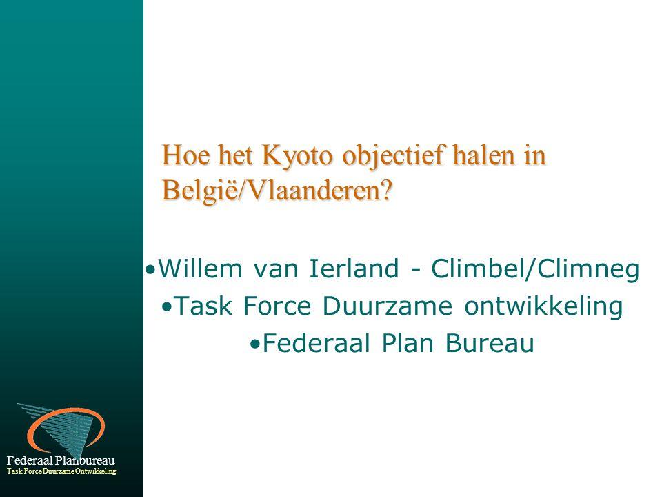 Federaal Planbureau Task Force Duurzame Ontwikkeling Hoe het Kyoto objectief halen in België/Vlaanderen.