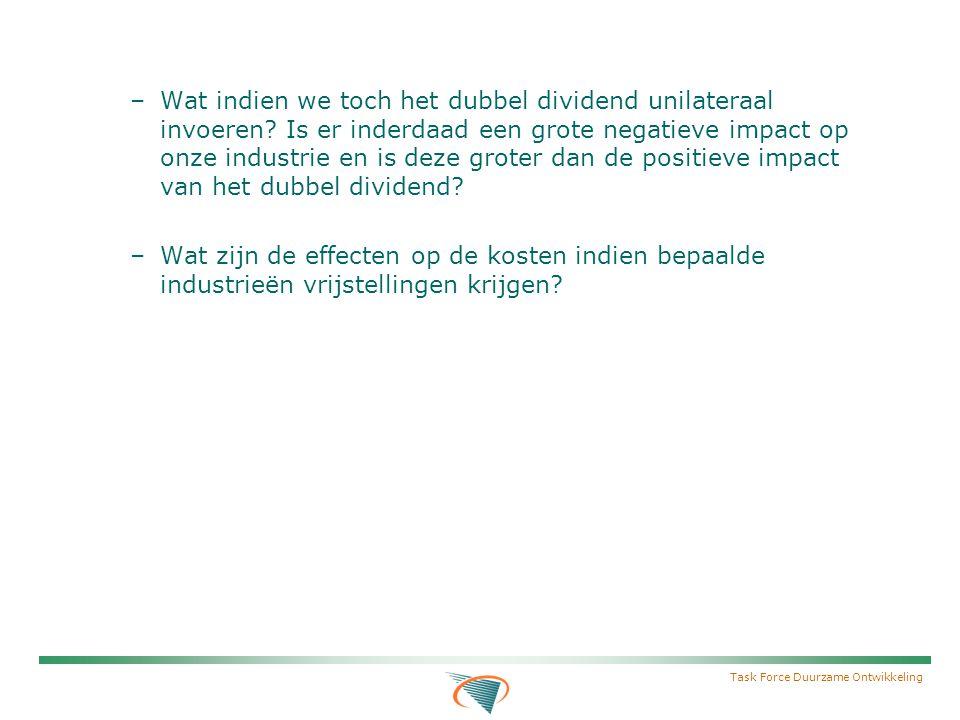 Task Force Duurzame Ontwikkeling –Wat indien we toch het dubbel dividend unilateraal invoeren.