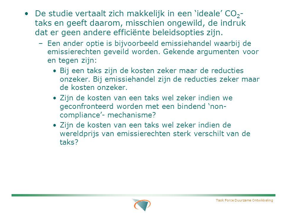 Task Force Duurzame Ontwikkeling De studie vertaalt zich makkelijk in een 'ideale' CO 2 - taks en geeft daarom, misschien ongewild, de indruk dat er geen andere efficiënte beleidsopties zijn.