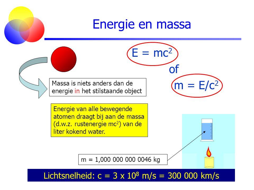 Energie en massa Lichtsnelheid: c = 3 x 10 8 m/s = 300 000 km/s Massa is niets anders dan de energie in het stilstaande object m = 1,000 000 000 0046