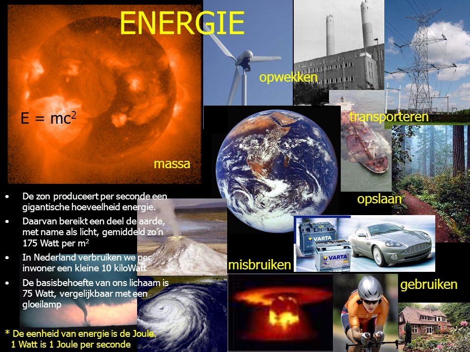 E = mc 2 transporteren opslaan misbruiken * De eenheid van energie is de Joule. 1 Watt is 1 Joule per seconde De zon produceert per seconde een gigant