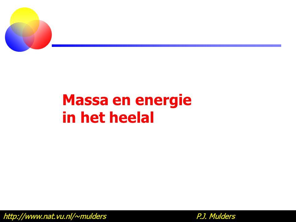 Massa en energie in het heelal http://www.nat.vu.nl/~mulders P.J. Mulders
