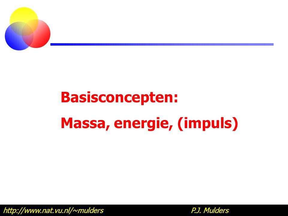 Energie en massa E = mc 2 of m = E/c 2 Lichtsnelheid: c = 3 x 10 8 m/s = 300 000 km/s Massa correspondeert met ontzettend veel energie.