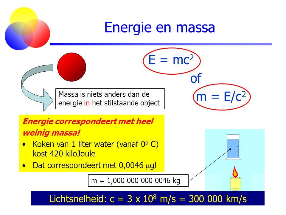 Energie en massa Lichtsnelheid: c = 3 x 10 8 m/s = 300 000 km/s Energie correspondeert met heel weinig massa! Koken van 1 liter water (vanaf 0 o C) ko