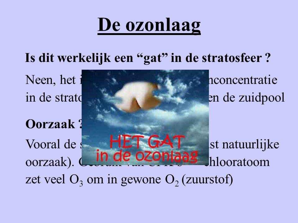 """De ozonlaag Is dit werkelijk een """"gat"""" in de stratosfeer ? Neen, het is een daling van de ozonconcentratie in de stratosfeer voornamelijk boven de zui"""