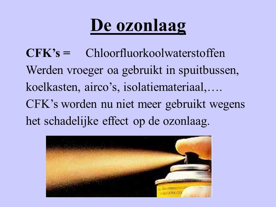 De ozonlaag CFK's =Chloorfluorkoolwaterstoffen Werden vroeger oa gebruikt in spuitbussen, koelkasten, airco's, isolatiemateriaal,…. CFK's worden nu ni