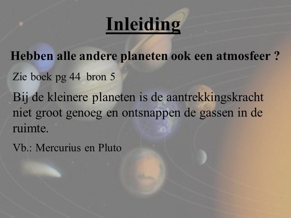 Inleiding Hebben alle andere planeten ook een atmosfeer ? Zie boek pg 44 bron 5 Bij de kleinere planeten is de aantrekkingskracht niet groot genoeg en