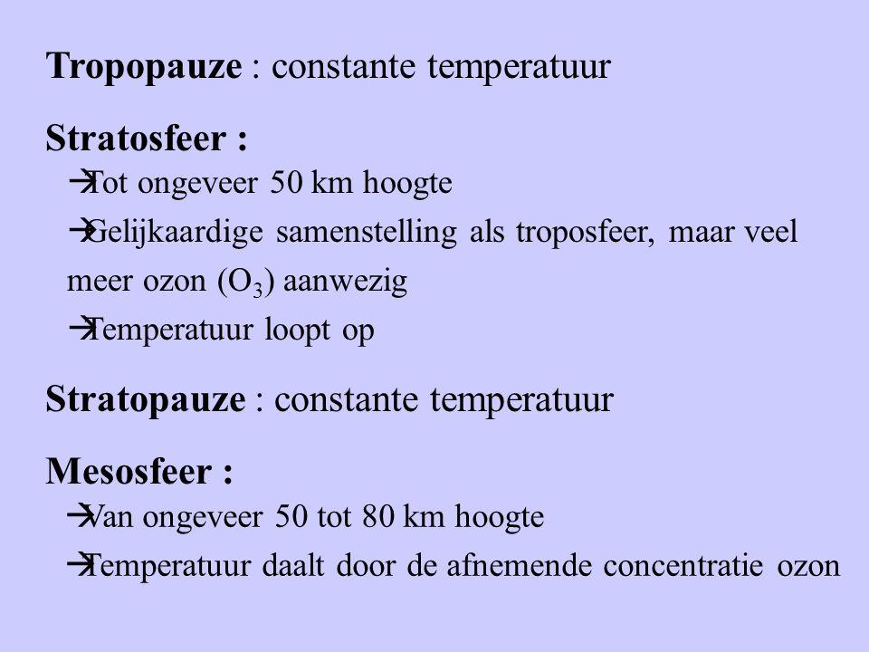 Tropopauze : constante temperatuur Stratosfeer :  Tot ongeveer 50 km hoogte  Gelijkaardige samenstelling als troposfeer, maar veel meer ozon (O 3 ) aanwezig  Temperatuur loopt op Stratopauze : constante temperatuur Mesosfeer :  Van ongeveer 50 tot 80 km hoogte  Temperatuur daalt door de afnemende concentratie ozon