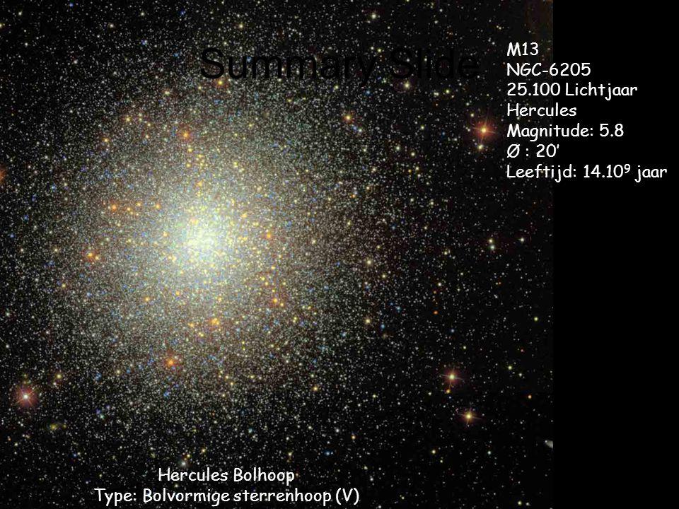 Summary Slide Hercules Bolhoop Type: Bolvormige sterrenhoop (V) M13 NGC-6205 25.100 Lichtjaar Hercules Magnitude: 5.8 Ø : 20' Leeftijd: 14.10 9 jaar