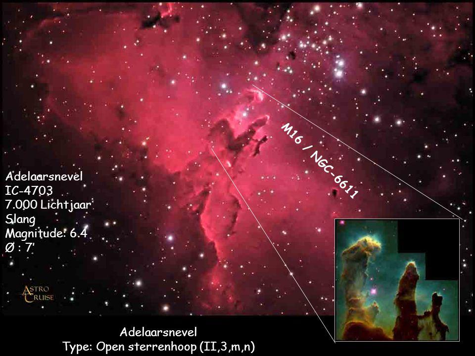 Adelaarsnevel Type: Open sterrenhoop (II,3,m,n) Adelaarsnevel IC-4703 7.000 Lichtjaar Slang Magnitude: 6.4 Ø : 7' M16 / NGC-6611