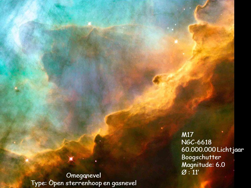 Omeganevel Type: Open sterrenhoop en gasnevel M17 NGC-6618 60.000.000 Lichtjaar Boogschutter Magnitude: 6.0 Ø : 11'